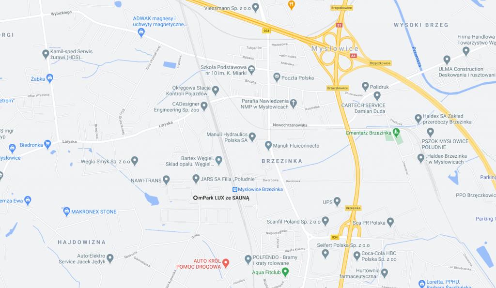 noclegi Mysłowice - mapa dojazdu